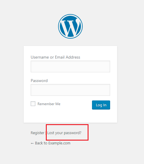 WordPress Lost Your Password Page