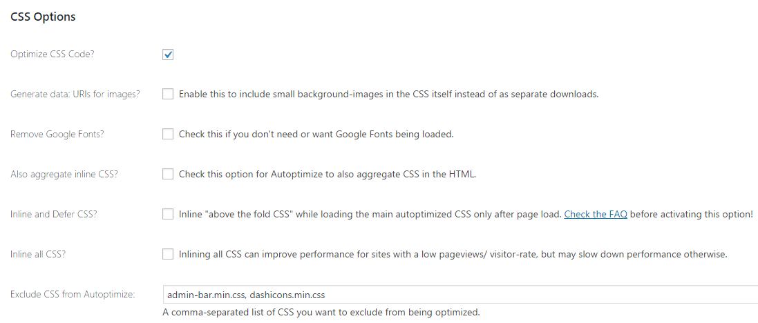 Autoptimize CSS options