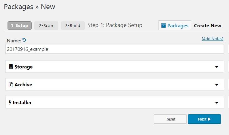 Duplicator create package