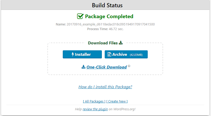 Duplicator package status