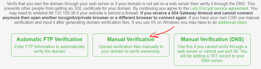 SSL for Free Manual Verification