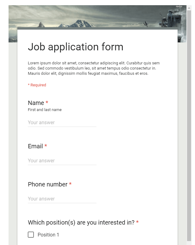 Google Form Preview