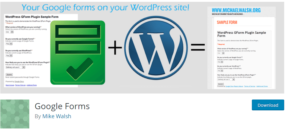 Google Form WordPress Plugin