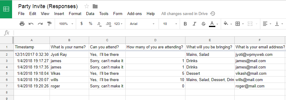 Google Form Response Sheet