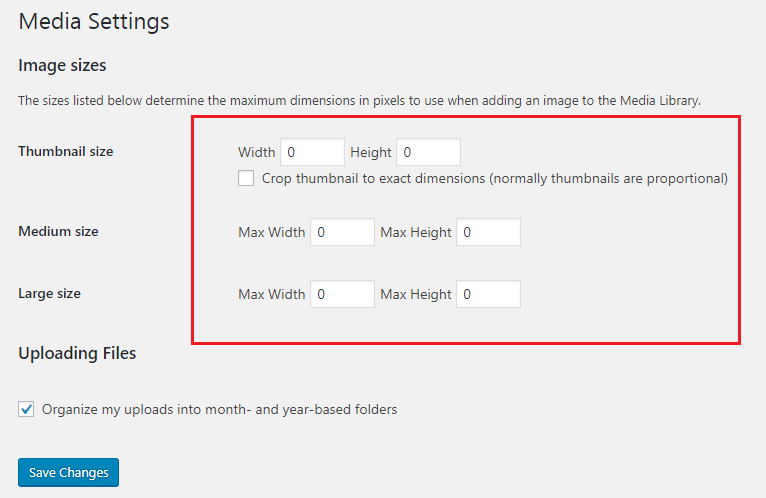 Modify WordPress Media Settings