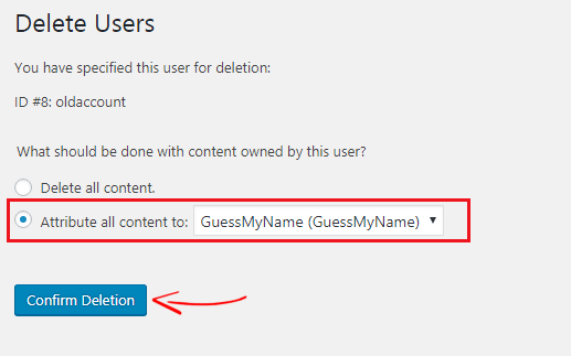 WordPress Delete Users Option