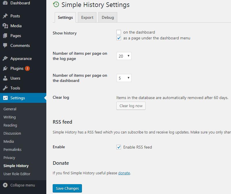 Simple History Settings
