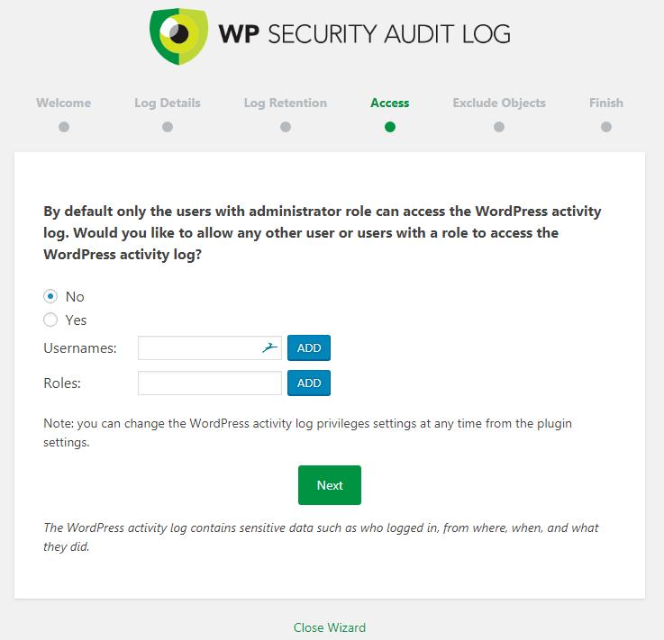 WP Security Audit Log Access