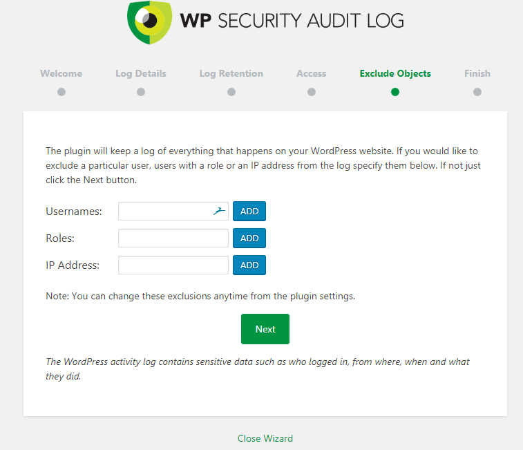 WP Security Audit Log Exclude