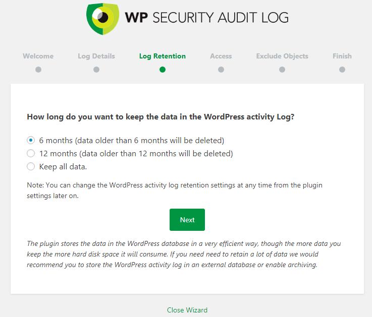 WP Security Audit Log Retension