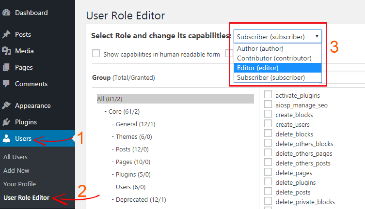 WordPress User Role Select