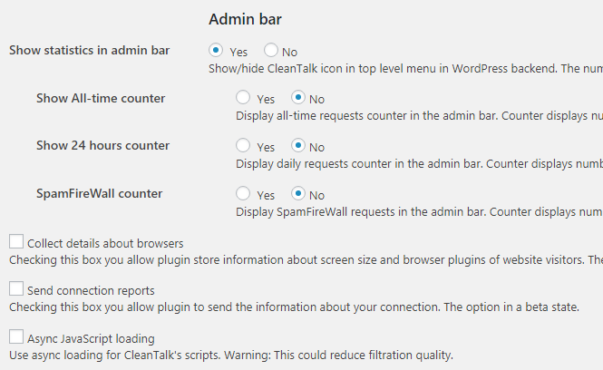 CleanTalk Admin Bar