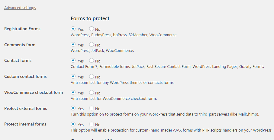 CleanTalk Forms to Protect