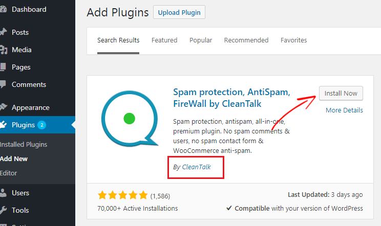 Cleantalk WordPress plugin install