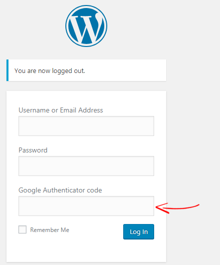 Google Authenticator field