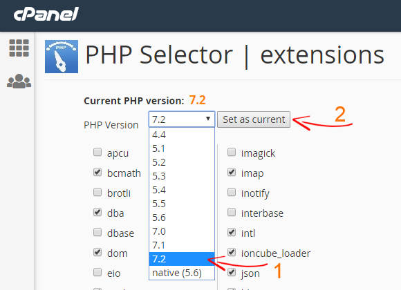 Hosting cPanel PHP Selector