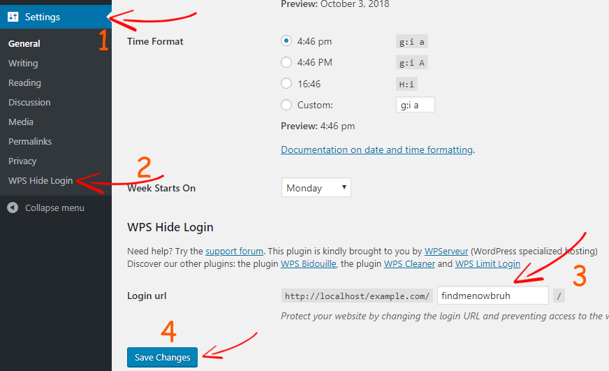 WPS Hide Login Settings
