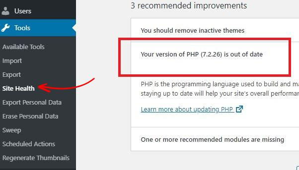 WordPress Check PHP Version