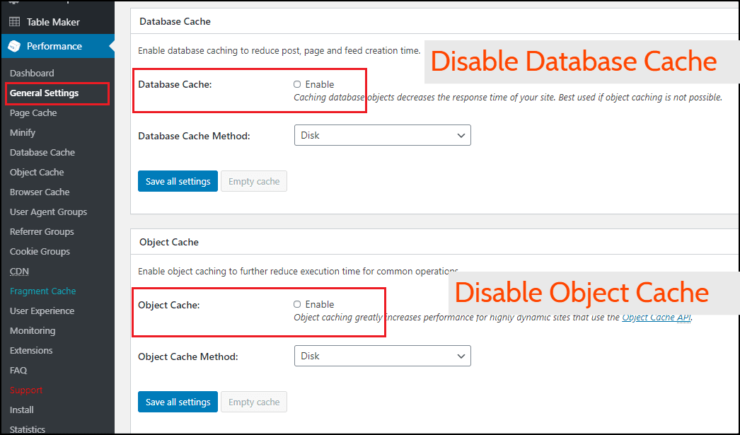 Disable Object and Database Cache in W3 Total Cache