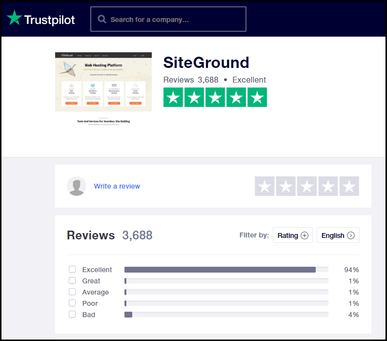 Siteground Trustpilot review0