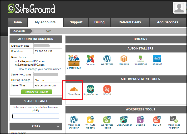 Siteground cPanel Cloudflare option