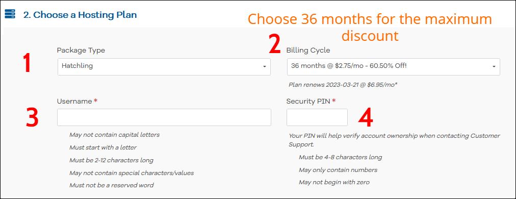 HostGator Choose a hosting plan