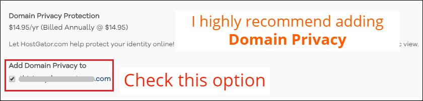 HostGator Domain Privacy