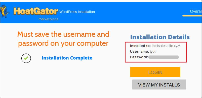 HostGator WordPress Installation Complete