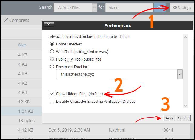 cPanel show hidden files