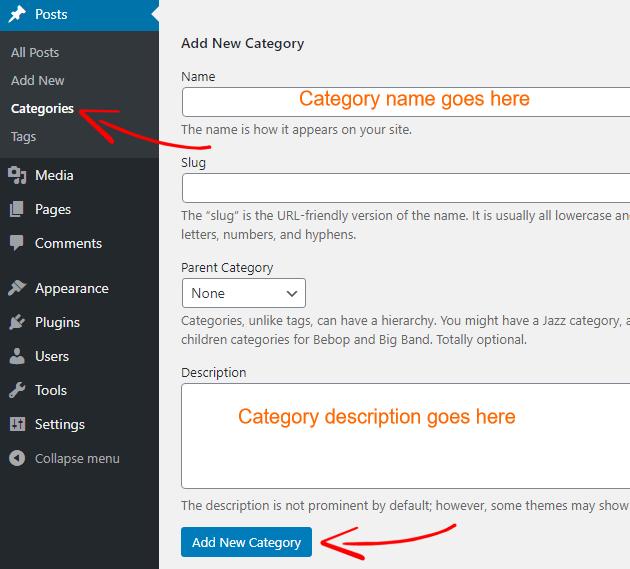 WordPress create category