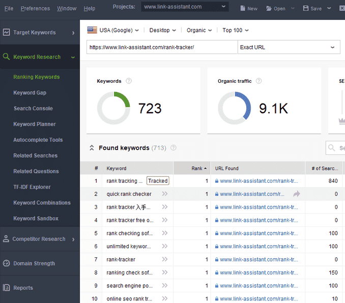 Rank Tracker Keywords